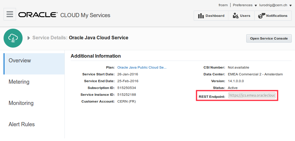 REST endpoint of my Java Cloud Service